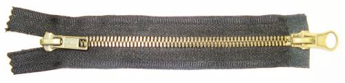 Two-Way Antique Brass Jacket Zippers